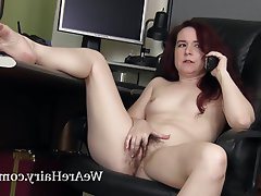 Hairy Masturbation Redhead Stockings Upskirt