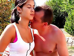Blowjob Brunette Old and Young Outdoor