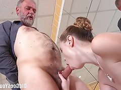 Cumshot Old and Young Redhead Teen