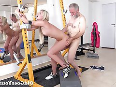 Blonde Blowjob Cumshot Old and Young