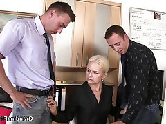 Granny Mature MILF Old and Young Threesome