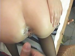 Amateur Anal Brunette Stockings